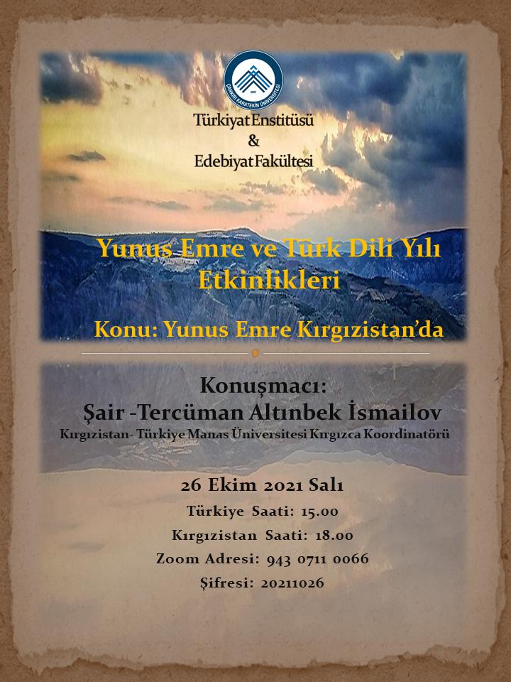 Yunus Emre Kırgızistan'da (Yunus Emre ve Türkçe Yılı Etkinlikleri)