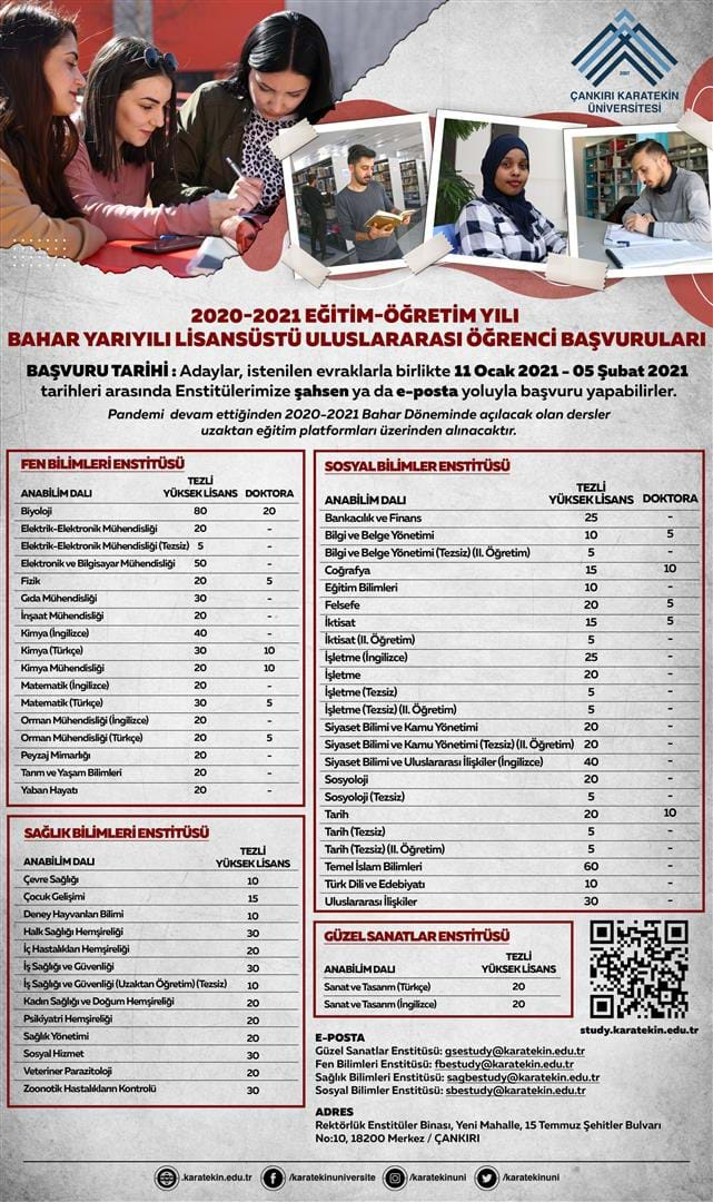 2020-2021 Academic Year Spring Semester International Student Graduate Degree Applications  /  2020-2021 EĞİTİM-ÖĞRETİM YILI  BAHAR YARIYILI LİSANSÜSTÜ ULUSLARARASI ÖĞRENCİ BAŞVURULARI